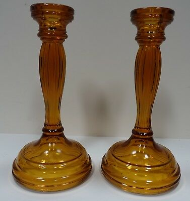 """ULZbx PAIR OF AMBER COLOR GLASS VINTAGE CANDLESTICKS 8"""" HIGH"""