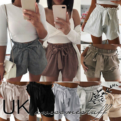 UK Womens High Waist Tie Belt Shorts Ladies Summer Trousers Pants Size 6 - 14
