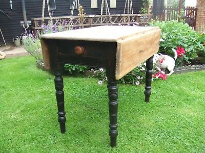 Antique 19th Century Victorian Wooden Pine Drop Leaf Table With Drawer