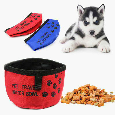 Portable Pet Puppy Dog Cat Folding Collapsible Food Dish Water Bowl Travel EDC