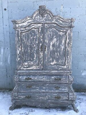 Rare, 18th Century, French Antique Armoire, Linen Press, Country, Rustic Vintage