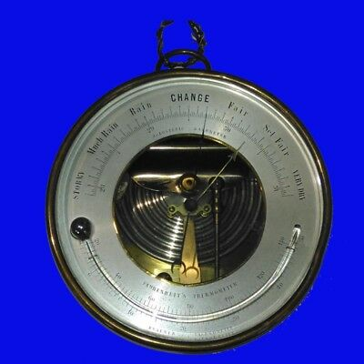 Victorian Brass Cased Holosteric Barometer and Reamur Thermometer 1900