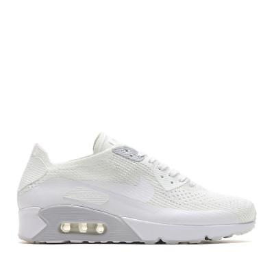 MENS NIKE AIR Max 90 Ultra 2.0 Flyknit White Pure Platinum Trainers 875943 101