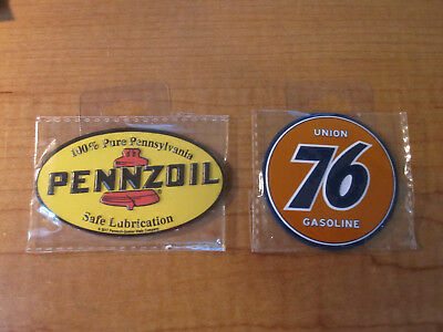 (2) UNION 76 & Pennzoil Gas & Oil Service Station Garage Metal Toolbox Magnets