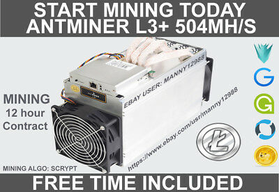 Antminer L3+ 504mh/s 12-13 Hours Mining Contract (freebies included, see desc)!!