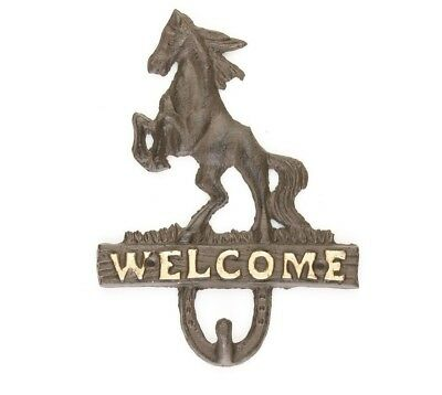 Rustic Cast iron Welcome Rearing Horse 6 1/2 x 8 1/2 . Antique brown and gold.