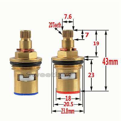 "1/2"" Replacement Brass Ceramic Disc Valve Tap Cartridge Insert Basin Bath Pair"