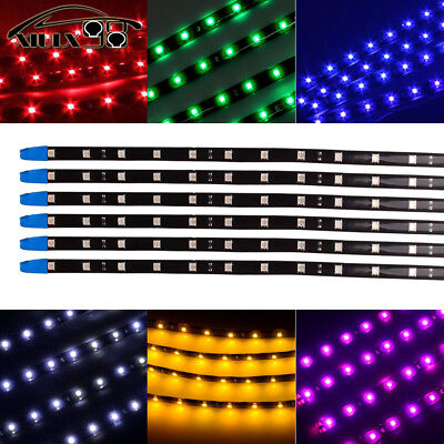"6 Pack DC 12V Waterproof 1Ft 15 LED Strip Underbody Light with 8"" wires 4 motor"