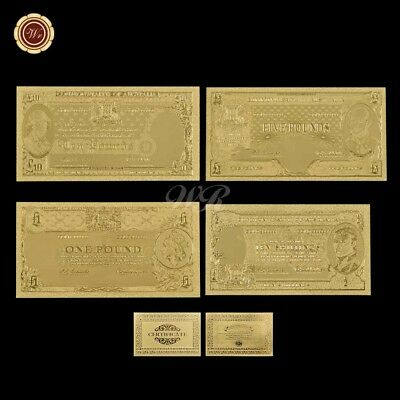 WR Commonwealth Of Australia 1 5 10 Pound & Ten Shilling Note 24K Gold Banknotes