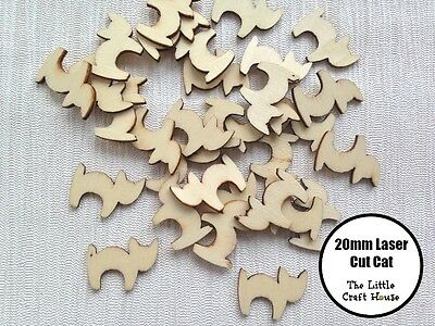 10 x 20mm Wooden Cat Laser Cut Shape Ply Blank Craft Cats Wood Shapes DIY Cats