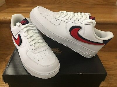 new style b9b27 8dd19 NIKE AIR FORCE 1 Low LV8 3D Chenille Swoosh White Red Blue GS MEN Sz 4Y-13  NEW
