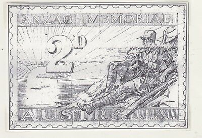 AUSTRALIA  1936 2d  Unadopted ANZAC Design Stamp on Card