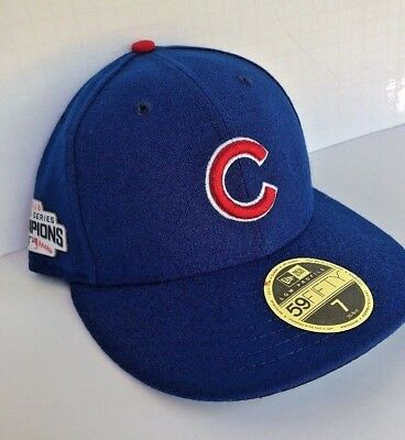 New Era 59FIFTY Chicago Cubs W.S Champions Patch Low Profile Fitted Hat Cap  SZ 7 a235ecd64eb4