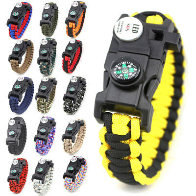 LED Survival Paracord Armband Flint Feuerstarter Kompass Whistle Kit für Outdoor
