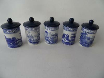 5 Spode Blue & White Blue Room Collection Herb Spice Pots Canisters