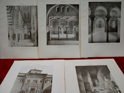 5 fotos Alcazar de Sevilla MOORISH REMAINS IN SPAIN CALVERT 1906