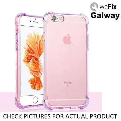 For iPhone 6S Clear Purple Shockproof Silicone Hard Edge Cover Case