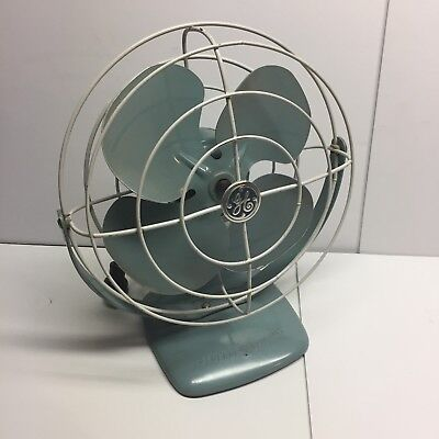 GE Turquoise Blue Wall or Desk Fan F11A103 Runs Quiet Mid Century Vintage