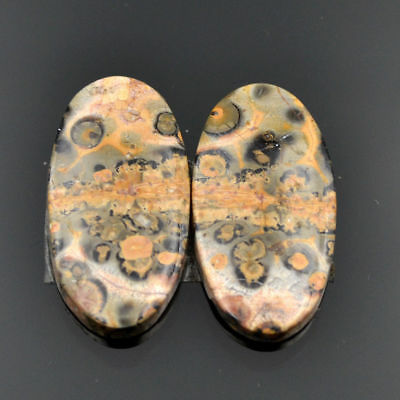 Cts 15.70 Natural Leopard Skin Jasper Cabochon Loose Oval Matching Pair Gemstone