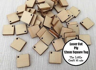 20 x 12mm Wooden Square Tag Laser Cut Shape Ply Blank Craft Wood Plywood Shapes