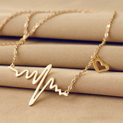 Heart Beat Chain Vintage Gold Plated Vital Heart Pendant Necklace Jewelry New!