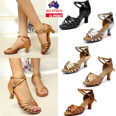 Women Ladies Ballroom Latin Tango Dance Shoes High Block Heel 5CM Salsa Sandals
