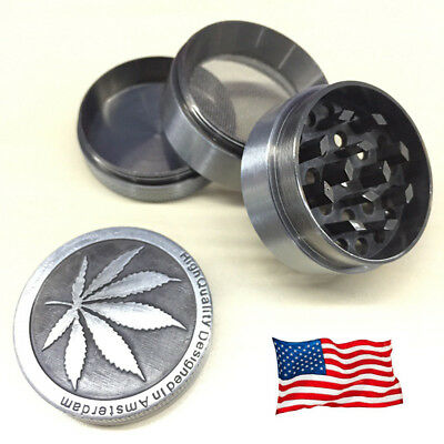 USA 4 Piece Metal Chromium Tobacco Herb Grinder Spice Herbal Alloy Smoke Crusher