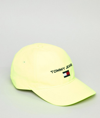 d0fc0949 Tommy Jeans 90's Sailing Capsule Flag Logo Soft Baseball Cap in Neon Yellow