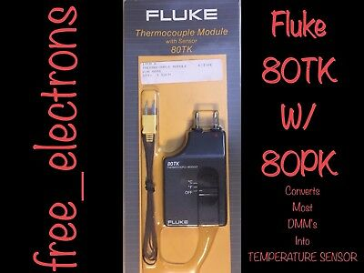 Fluke 80Tk Thermocouple Adapter Thermometer Temperature Probe & 80Pk Sensor 80Bk