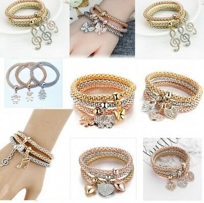 Fashion Women 3Pcs Gold Silver Rose Gold Bracelets Set Rhinestone Bangle Gift