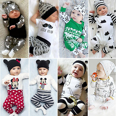 3Pcs Newborn Baby Boy Girl Bodysuits Outfits Clothes Romper T-Shirt Top Pants AU