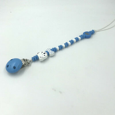 Blue Wood Pacifier Clips Bear bowknot Beaded Pacifier Chain Baby Soother Clips