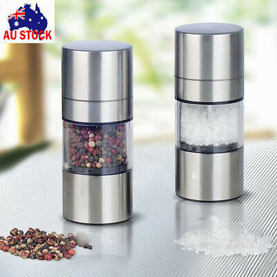 AU Premium Salt and Pepper Grinder Set - Best Stainless Steel Mill For Cooking N