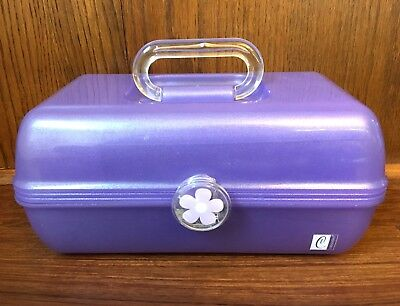 Vintage Caboodles Makeup Case Purple Glitter Cosmetic Organizer Vanity Mirror