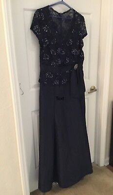 Size 16 KM Collections Formal Navy Blue Dress, Has Been Drycleaned, Ready To Go
