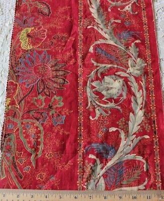 "Antique 19thC French Turkey Red Hand Blocked Linen Provencal Bird Fabric~30""X12"""