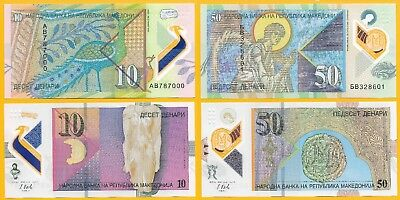 Macedonia SET 10 and 50 Denari p-new 2018 POLYMER UNC Banknotes