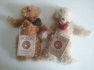 "HEARTS OF LOVE Twins 7"" Head Bean Collection Heirloom Series Boyds Bears"