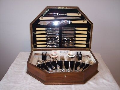 1955 Viners of Sheffield Vintage 55pce Cutlery set in box with key