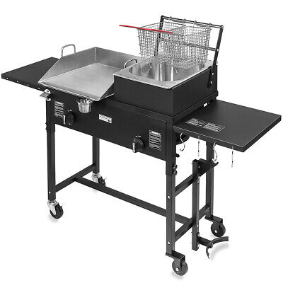 Commercial Restaurant Gas Grill w/2 Deep Fryer Heavy Duty Countertop Grill Food