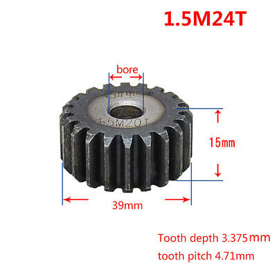 1.5Mod 24T Motor Spur Pinion Gear 45# Steel Outer Dia 39mm Thickness 15mm x 1Pcs