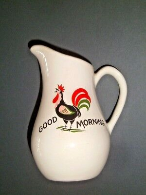 """VTG Rooster GOOD MORNING USA Creamer 6"""" Pearl China Co. Cottage Country Cabin"""