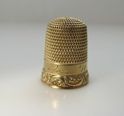 "Antique 14K Yellow Gold Thimble ""dora Wilds"" Victorian Scroll Work"