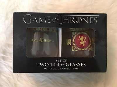 Game of Thrones Lannister Stemless Wine Glass with Gold Rim Set of 2