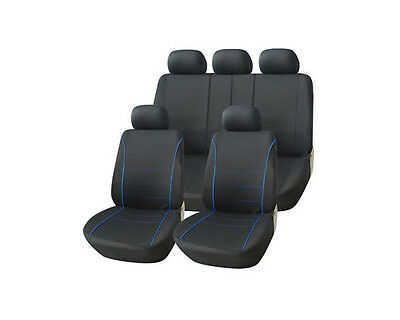 Vw Polo (06-9) Gti Full Car Seat Cover Set Blue Edging