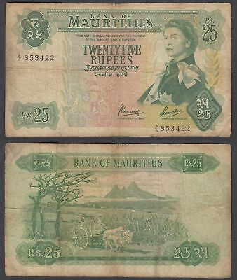 Mauritius 25 Rupees 1967 (VG-F) Condition Banknote P-32 QEII