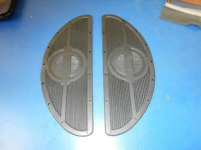 Black Rivet On Rubber Footboard Half Moon Mats Harley Davidson & Choppers