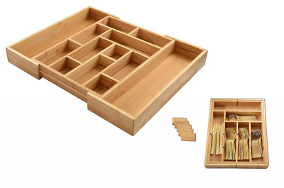 Expandable Bamboo 6-13 Compartment cutlery Utensils & Utility-Drawer Organizer
