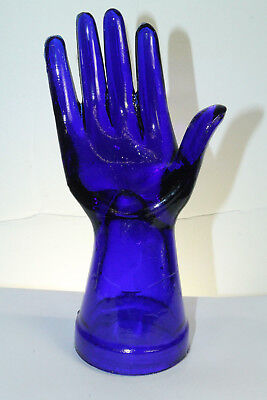 Depression Style Glass Cobalt Blue Display Hand Mannequin Jewelry Ring Accessory
