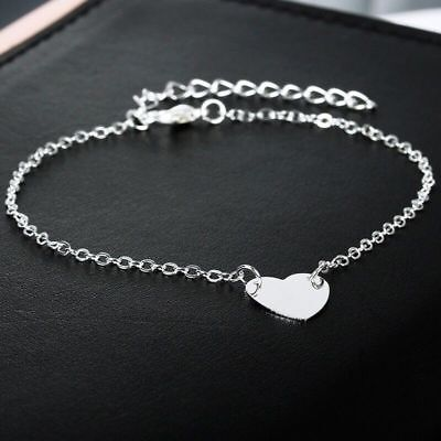UK Womens Ankle Bracelet Heart Silver Gold Plated Anklet Foot Chain Beach Beads